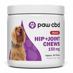 Paws CBD Hip + Joint Chews for Dogs – 150mg (Bacon Flavor – 30 Chews)